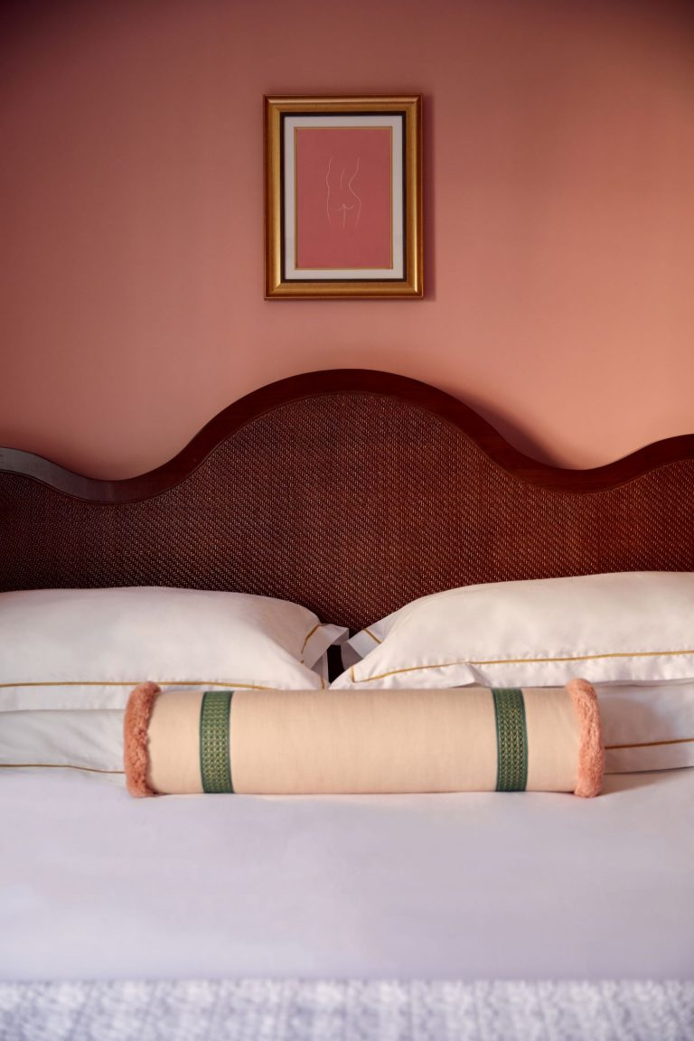 Village King Bed with Pillows and framed art