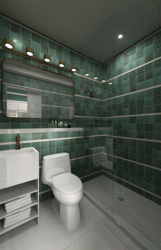Bathroom with shower, toilet, mirror, skylights and sink with towels underneath