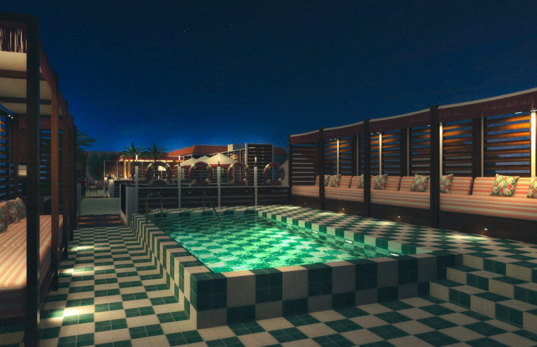 Rooftop pool with tiled floor arounf it and cabanas with seating areas and pillows at night