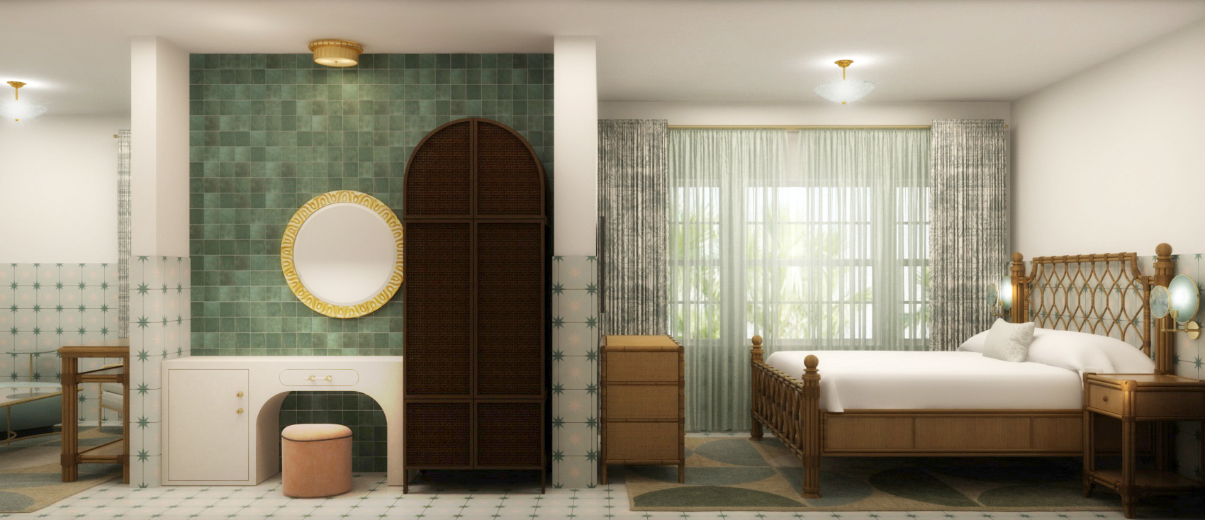 Hotel suite with bed, nightstand, dresser and vanity table with mirror