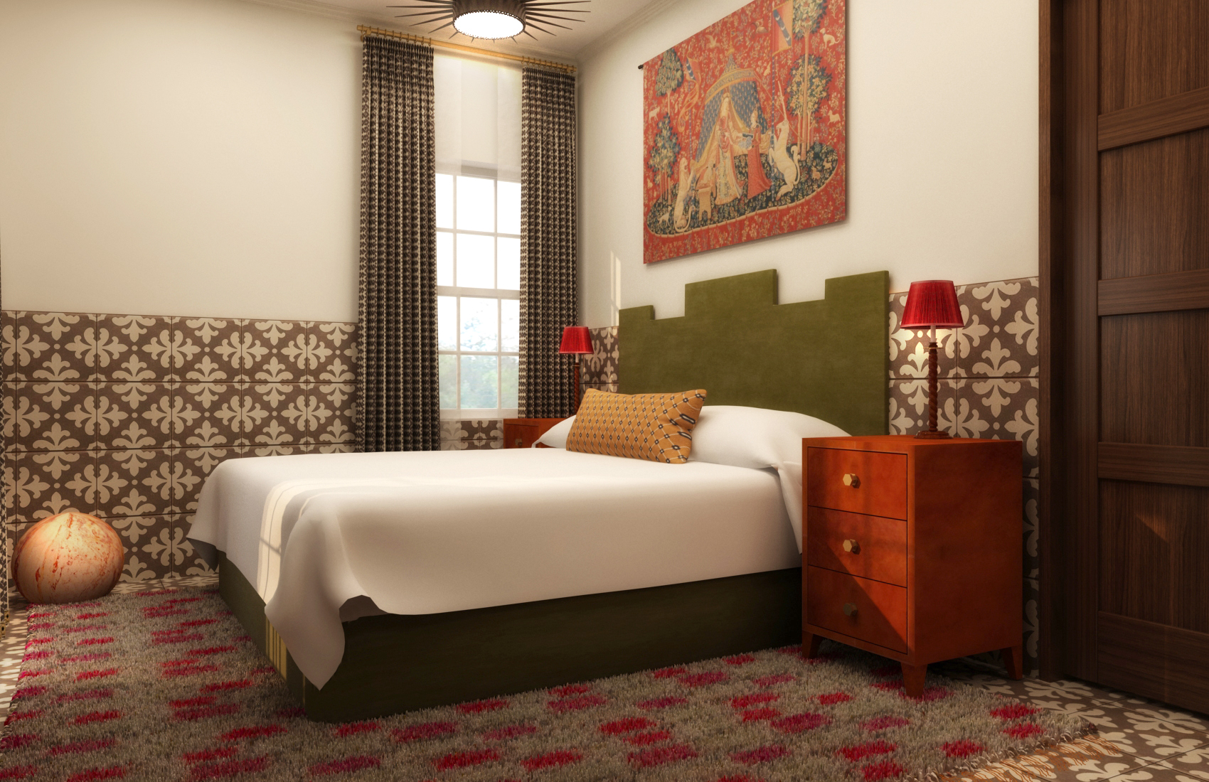 Hotel room with bed, area rug, nightstand, window and decorative fabric on wall